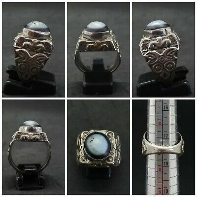 Solid silver Unique Ring with Beautiful Colour Banded Eye Agate stone #128