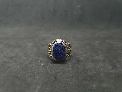 Silver Plated Old Ring With Beautiful Islamic Writing Lapis Lazuli Stone #D2