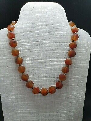 Beautiful Old Red Agate Stone Unique Design Necklace With Brass Beads #W23