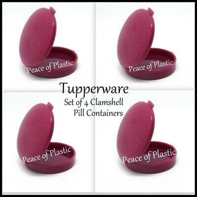 Tupperware New Set 4 Mini Clamshell Pill Keeper Round Pocket Container~ Mulberry