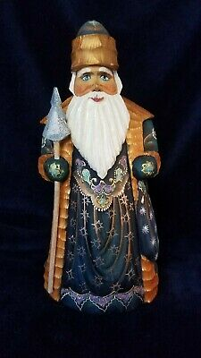 Hand Carved Painted Wooden Glitter #1 Santa Claus Christmas Russia USSR Soviet