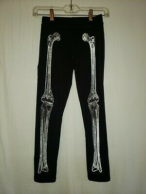 GapFit Dry Kids Sz M (8-9) Black Sport Stretch Pants Skeleton Bones Halloween