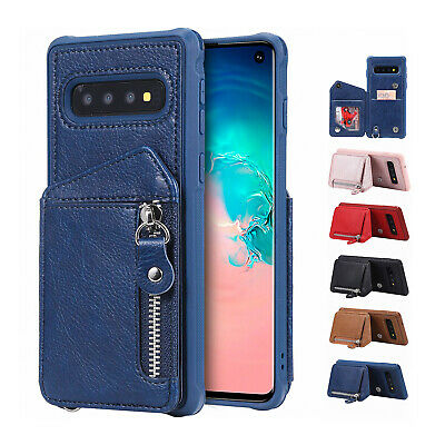 Fr Samsung Galaxy S10 Plus S10e Zipper Card Slot Wallet Stand Leather Case Cover