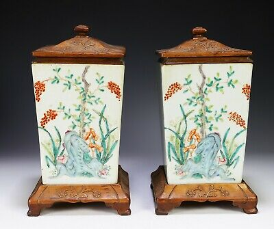Unusual Pair of Antique Chinese Four Sided Pots with Wood Stands and Covers