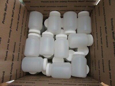 30 White Plastic Jars/Bottles with lids.4 1/4 in.high,Never used.