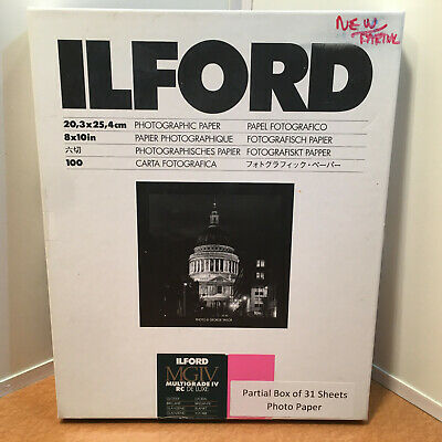 "Ilford Multigrade IV RC De Luxe Paper (Glossy 8 x 10"") 1770340 Partial 31 Sheets"