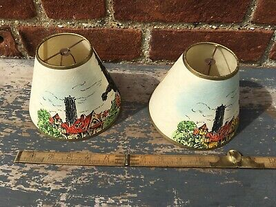 Old Original French Gothic Lampshades Hand Painted