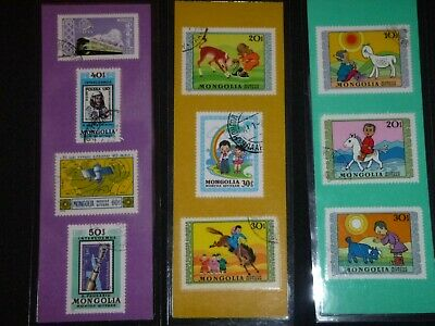 3 BOOKMARKS~MONGOLIA Laminated POSTAGE STAMPS! AWESOME!