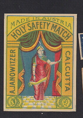 AE Old  Matchbox label  packet Austria WWWWW49 Holy Calcutta Woman India