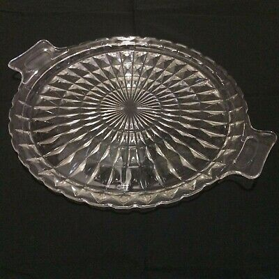 "Cut Glass Vintage Style 10"" Serving Tray (1187)"
