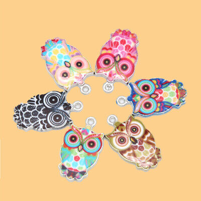 DIY Making Pendants Cute Enamel Owl Necklace Crafts Jewelry Charms 6pcs Mixed