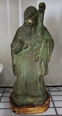 Mid 20th Century Chinese Bronzed Cast Iron Shou Xing Statue on Wood Base