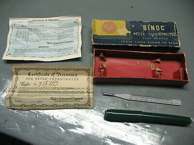 Binoc Taylor Fever  Thermometer 5071  Vintage Original  Complete  Rochester Ny