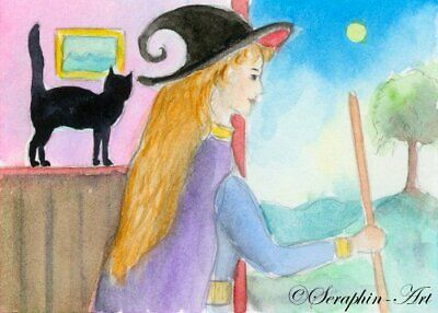 Black Cat Original Watercolor ACEO Painting Witch Fantasy Halloween Seraphin-Art