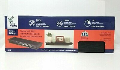 High & Mighty Floating Wall Shelf Beveled Design 18 inch Black No Tools Require