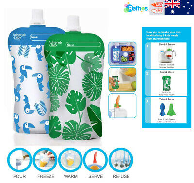 Baby On The Go Reusable Mini Food Storage Pouches, Green/Blue - Cherub 10 Pack