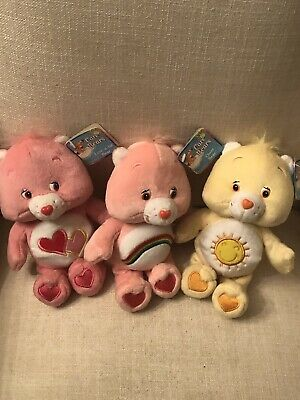 "3 Vintage Care Bears 8"" Plush With Tags, Love a Lot Bear, Cheer Bear, Funshine"
