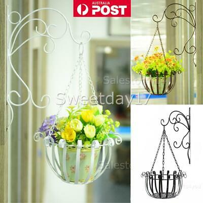 Iron Plant Hanger Wall Mounted Bracket Hook with Plant Hanging Chain Basket Y