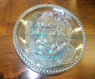 """RARE Antique Pressed Glass Columbia Glass Findlay Dog 6"""" Plate Lovely Find!"""
