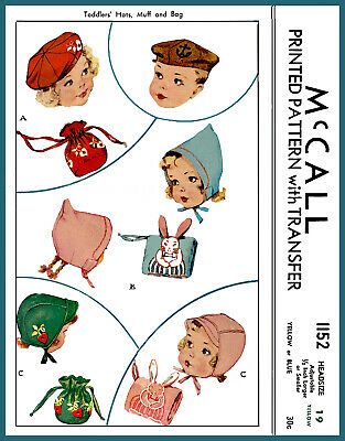 """McCall Pattern 1152 Adjustable 19"""" Headsized~ Child BERET CAP MUFF BAG Embroider"""