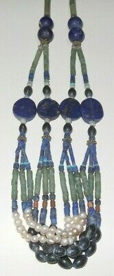 Wonderful ancient Egypt style lapislazuli, pearls & green stone necklace!