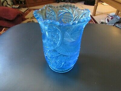 McKee Glass Blue Celery Vase Sunburst Pattern