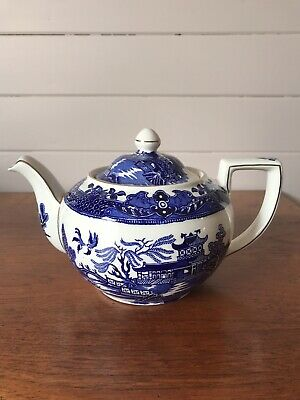 Vintage Burleigh Ware Willow Blue Willow Teapot Made In England Mint Condition