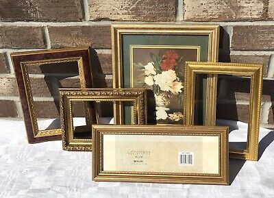 Lot Of 5 Vintage Gold Ornate Detailed Open Picture Frames Mantel Wall Decor Art