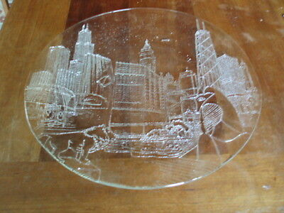 Vintage CHICAGO SKYLINE GLASS EMBOSSED PLATE Wrigley Field Sears Tower Picasso
