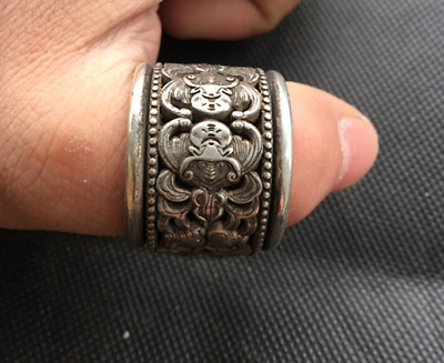 Old Chinese  Tibetan silver  rotate  Fingerstall  Ring  Collection