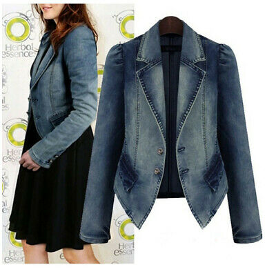 Plus Size Fashion Lapel Women Casual Denim Zipper Blazer Vintage Jeans Jacket NA