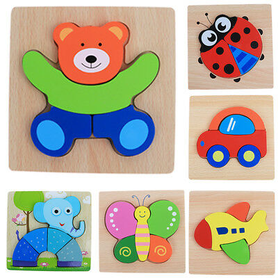 Kids Baby Wooden Wood Cartoon Animal Puzzle Learning Educational Fun Toy & Game