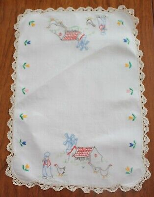 Large Vintage Embroidered Doily - Dutch Farmer, Ducks, House And Windmill