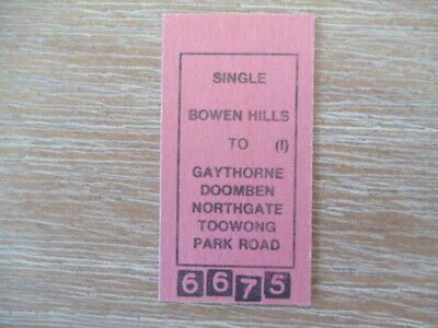 Vintage Railway Ticket  Bowen Hills  to Park Road and other Stations Single