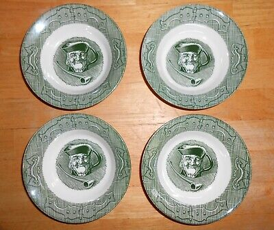 4 Old Curiosity Shop Vintage Colonial Mug Man Pipe Green Dessert Bowls Saucers