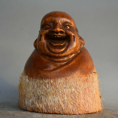 "5.2"" Antique Old Chinese Ox Horn Carved Happy Laugh Maitreya Buddha Bust Statue"