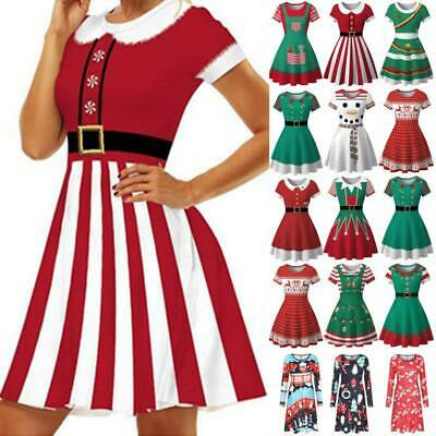 Women Xmas Santa Reindeer Girl Gifts Ladies Christmas Costume Skater Swing Dress