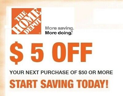 2X Home Depot 2Coupons $5 Off $50 or more (in Store use only)