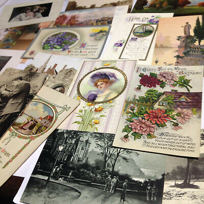 Lot of 20 Antique Used Stamped Postcards