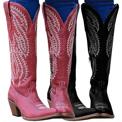 Women Winter Mid Calf Boots Block Mid Heels Western Cowboy Cowgirl Shoes Casual