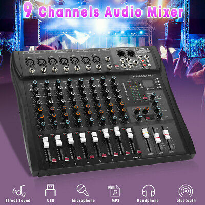 9-Channel Professional Studio Audio Mixer bluetooth KTV DJ Sound Mixing Console