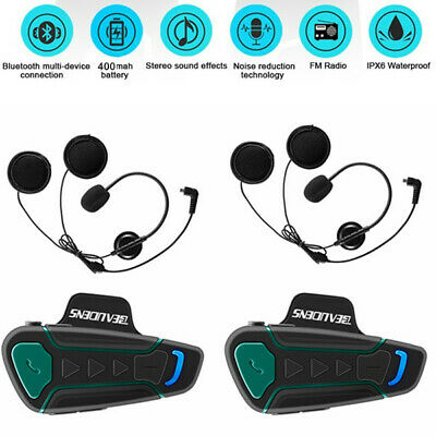 2X 1200M Intercom Moto Bluetooth, Casques Kit Moto Main Libre Écouteur FM GPS FR