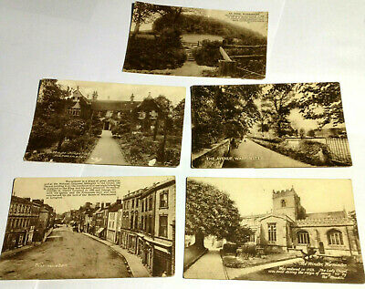 Lot of 5 Antique Unused Stamped Warminster English Postcards Stamped in 1917