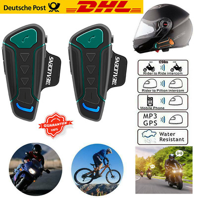 2 x 1200m Motorrad Bluetooth Gegensprechanlage Helm Headset kabellos Intercom FM