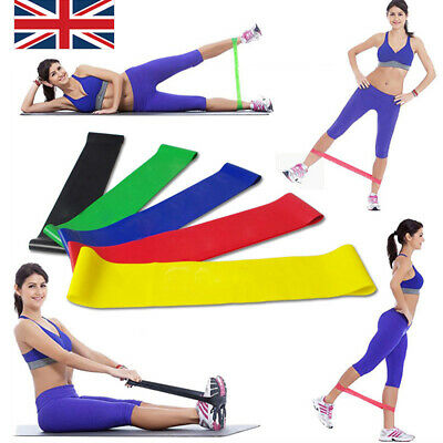 5pcs Yoga Workout Resistance Stretch Loop Bands Fitness Excercise Strength Gym
