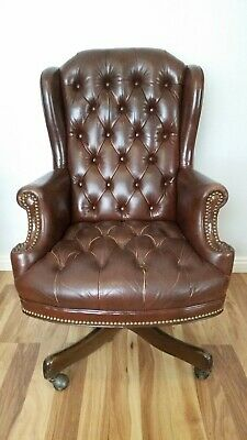 Admirable Schafer Bros Tufted Leather Barrel Back Club Chairs A Machost Co Dining Chair Design Ideas Machostcouk