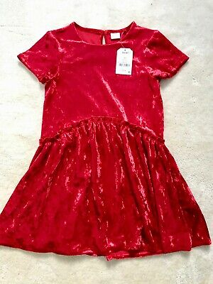 Next Girls Red Velour Dress Age 7 Yrs (6-7 Yrs Up to 122cm)