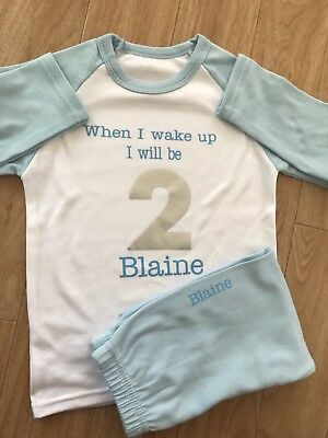 When I wake Up I Will Be 2 Pyjamas Aged 2-3 Years Boys Blue Personalised Pjs
