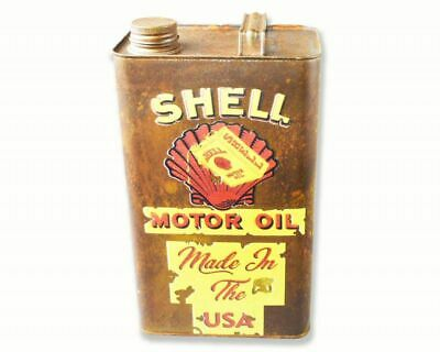 Rusty Shell Motor Oil Repro Vintage Display Metal Oil Can with Logo Lid