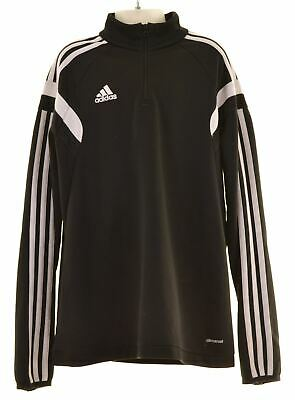 ADIDAS Boys Tracksuit Top 11-12 Years Black Polyester  MV31